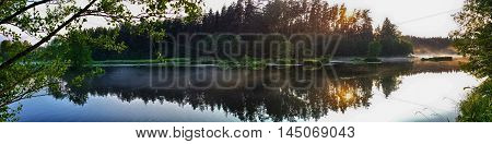 Evening River Waterfront With Forest Reflection Panorama.