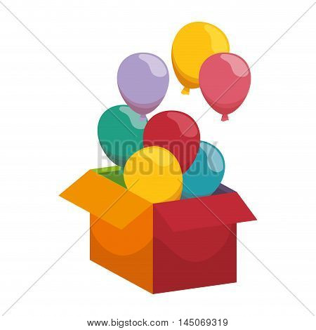 open box with colorful balloons surprise celebration vector illustration