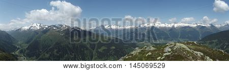 Alpine Summer Mountains Landscape Nature Panorama. Top Alps Rocks
