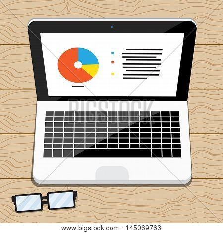 Laptop on wood table , vector design for business.