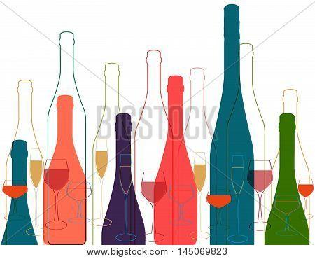 Background Bottle Ilustration.Alcoholic Bar Menu.Design for Party.Template for Menu Card.Wine List Design.Suitable for Poster.Card Cocktail Party.Bottle of Wine Vector.