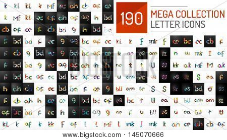 Mega collection of 190 vector initial letter logo icons. Modern abstract geometric minimal linear design