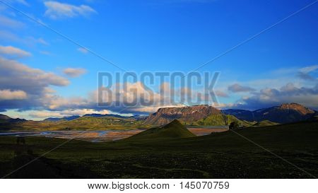 Landmannalaugar Iceland sanset great valley inner part of iseland