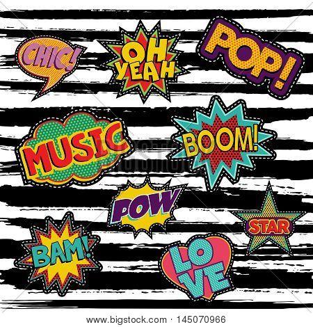 Set Of Retro Pop Art Sticker Or Patch Designs