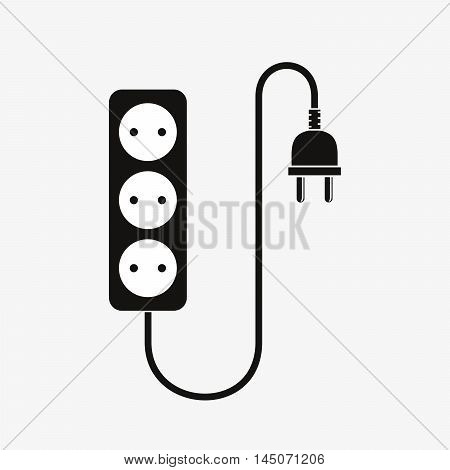 Extension cord - vector illustration. Icon of power extension cord. Simple black electrical sockets.