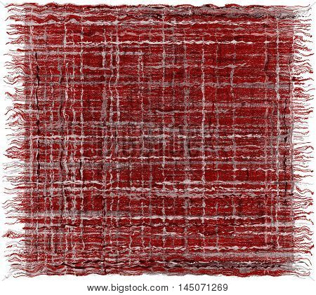Weave grunge striped plaid with fringe in purplegreywhite colors isolated on white