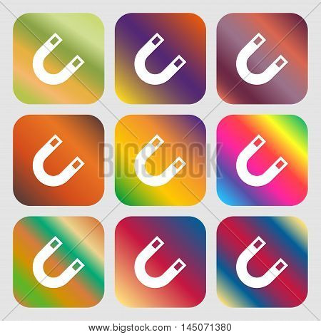Magnet, Horseshoe Icon. Nine Buttons With Bright Gradients For Beautiful Design. Vector
