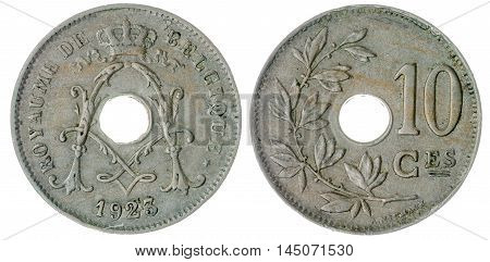 10 Centimes 1923 Coin Isolated On White Background, Belgium