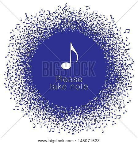 Musical notes buzz around a perfect circle with space for your text