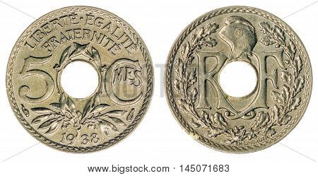 5 Centimes 1938 Coin Isolated On White Background, France