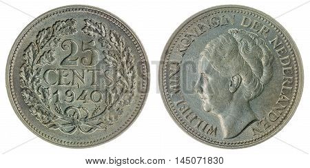 25 Cents 1940 Coin Isolated On White Background, Netherlands