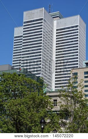 MONTREAL QUEBEC CANADA AUGUST 17 2016: Place ville Marie building .1 Place Ville Marie a 47-storey, cruciform office tower built in the International style in 1962.