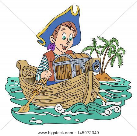 Illustration of pirate boy with a treasure on the boat