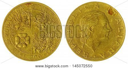 200 Lire 1993 Coin Isolated On White Background, Italy