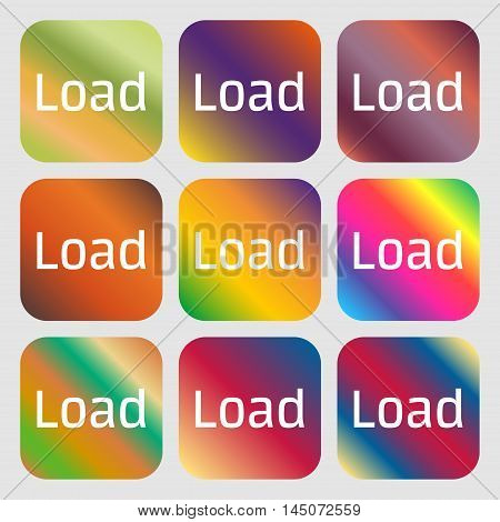 Download Now Icon. Load Symbol . Nine Buttons With Bright Gradients For Beautiful Design. Vector