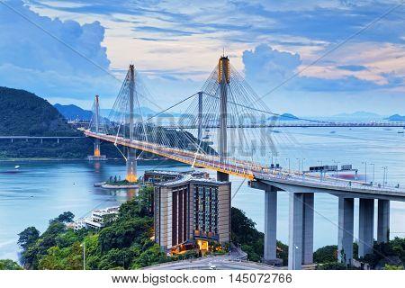 Hong kong traffic highway , Ting Kau Bridge