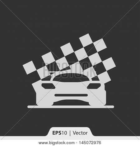 Car Racing With Race Flag Vector Icon For Web And Mobile