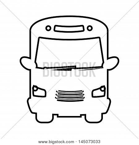 bus transport vehicle auto urban public service silhouette vector illustration