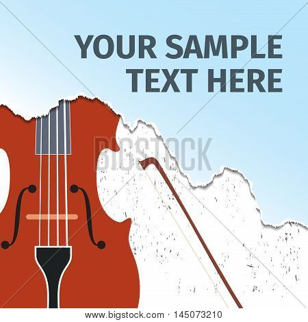 Advertising card with violin on background, vector illustration