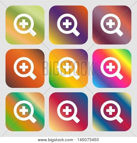 Magnifier Glass, Zoom Tool Icon. Nine Buttons With Bright Gradients For Beautiful Design. Vector