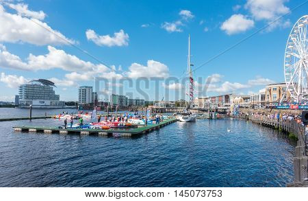 Cardiff United Kingdom - August 29 2016: Tourists and locals are watching the powerboats getting ready for the P1 national championships at the Cardiff Harbour Festival & the P1 Welsh Grand Prix of the Sea in Cardiff Bay.