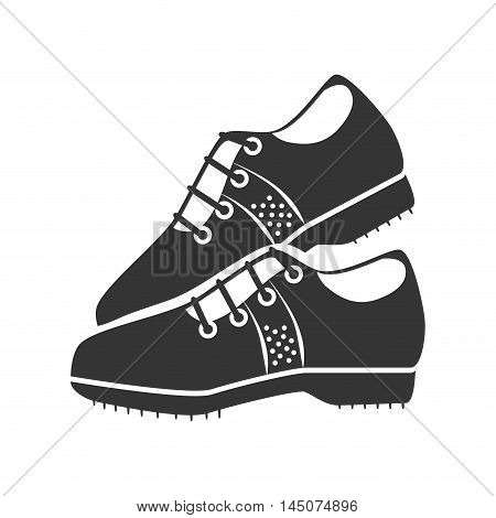 golf shoes player accessory sport game silhoutte vector illustration