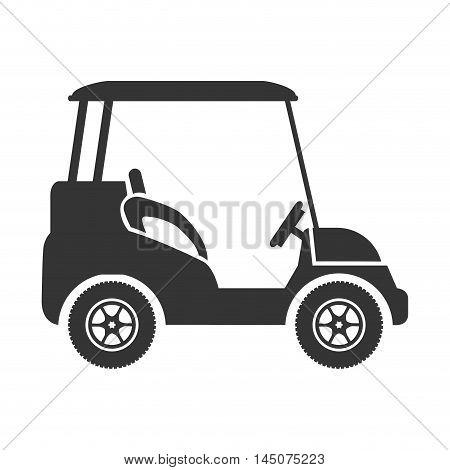golf car vehicle transport sport buggy silhouette vector illustration