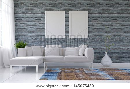 Living room with plain white furniture and pair of empty picture frames in gray color scheme. 3d Rendering.