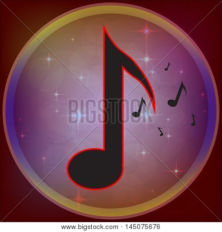 Music icon. note on a beautiful background . Vector illustration