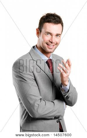 Smiling young natural businessman explaining isolated on white background
