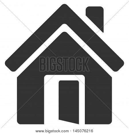 Open House Door icon. Glyph style is flat iconic symbol, gray color, white background.
