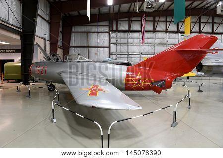 Kalamazoo, MI, USA - June 23, 2016: Russian MiG-17 on display at the Air Zoo Museum in Kalamazoo, Michigan