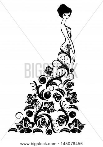 Beauty girl in floral dress isolated on white background