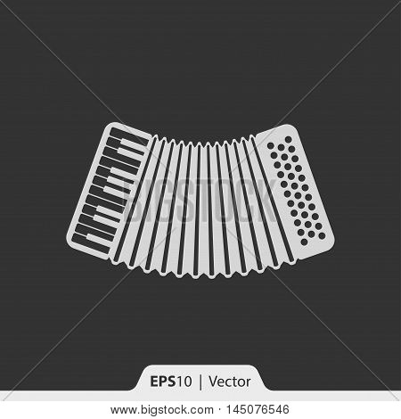 Accordion Musical Instrument Vector Icon For Web And Mobile