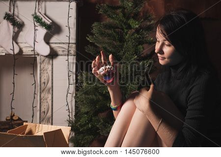 Pretty Girl Decorate Her House Before Christmas, Brunette Dresses Up  Tree,