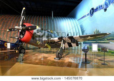 Kalamazoo, MI, USA - June 23, 2016: Republic P-47D on display at the Air Zoo Museum in Kalamazoo, Michigan