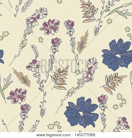 Floral seamless background. Doodle pattern design, for wrapping paper, wallpaper, fabric, vector illustration