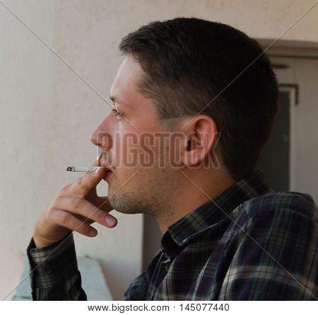 man smokes a cigarette addict, addiction, addictive,
