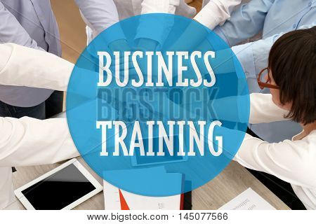 Business training concept. Group of people hands together