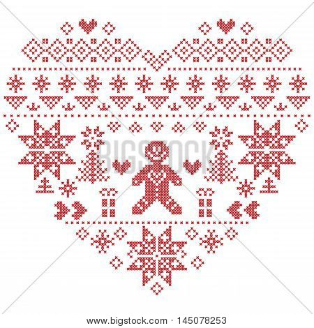 Heart Shape Scandinavian Printed Textile  style and inspired by  Norwegian Christmas and festive winter  pattern in cross stitch with Christmas tree, snowflakes, gingerbread man , hearts on white background