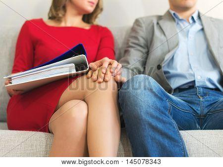 Flirt At Work. Man Touching Secretary's Knee.