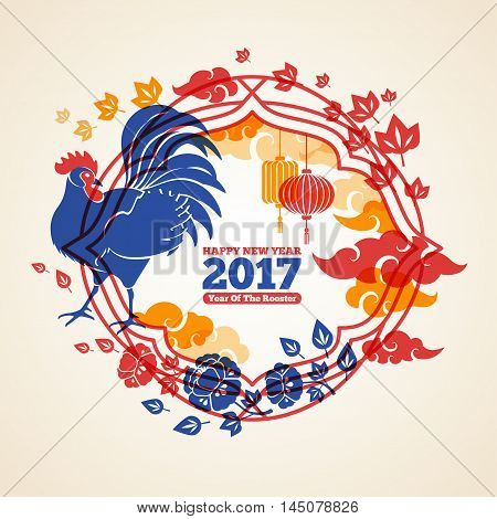Chinese 2017 New Year Creative Concept Frame with Blue Rooster, Clouds and Peony Flowers. Vector illustration. Season Greetings. Asian Lantern Lamps.