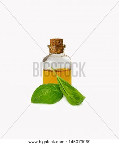 Basil essential oils in bottle isolated on white.