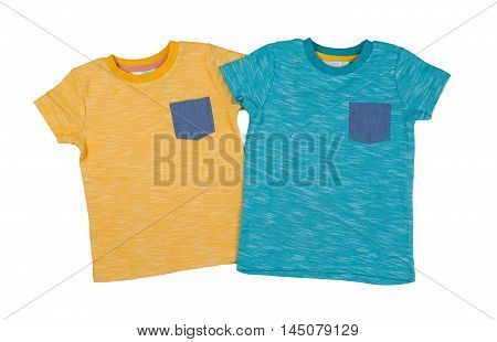 Two colored T-shirts. Isolate on white. nobody
