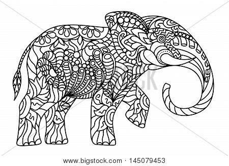 The elephant, decorated with stylized ornaments. Coloring antistress