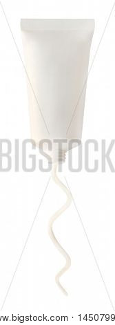 Tube with cosmetic cream isolated on white