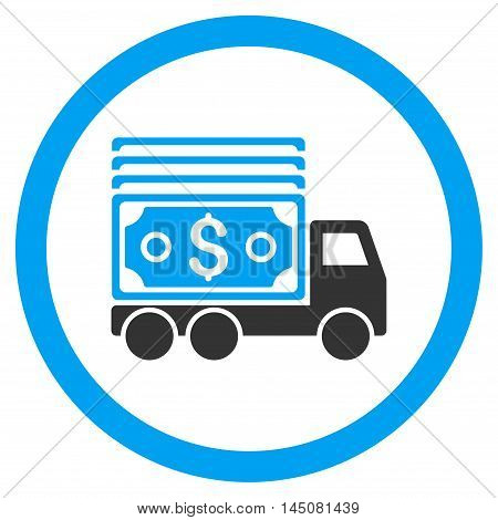 Cash Lorry rounded icon. Vector illustration style is flat iconic bicolor symbol, blue and gray colors, white background.