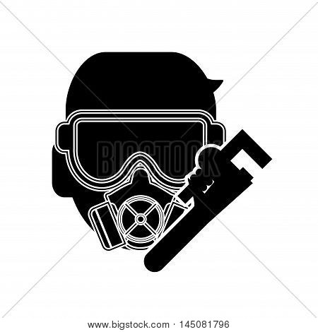 flat design gas mask and pipe wrench icon vector illustration