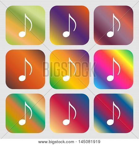 Musical Note, Music, Ringtone Icon. Nine Buttons With Bright Gradients For Beautiful Design. Vector