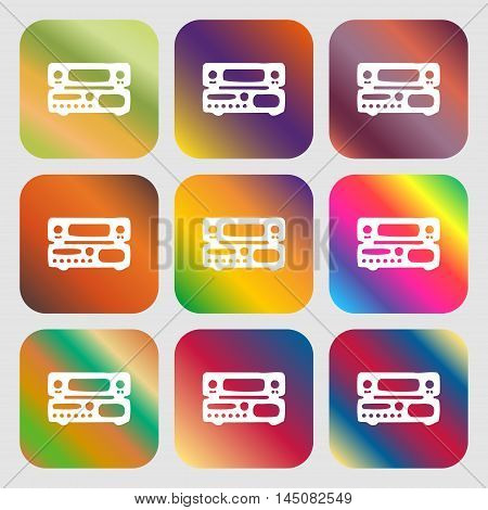 Radio, Receiver, Amplifier Icon. Nine Buttons With Bright Gradients For Beautiful Design. Vector